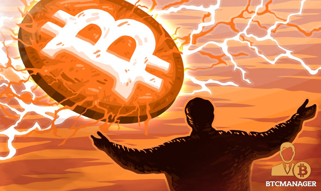 Bitcoin beaming in the sky as a man looks on praising the new god