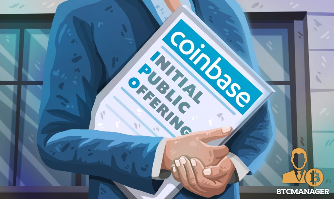 a man carryign documents of coinbase IPO