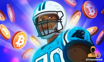Russell Okung surrounded by bitcoin