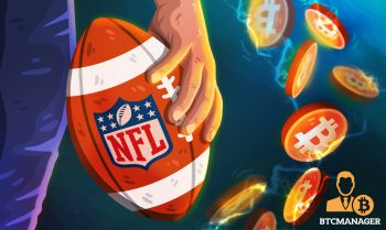 player holding NFL ball in front of bitcoin