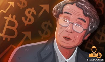 satoshi nakamoto in front of bitcoin and dollar signs