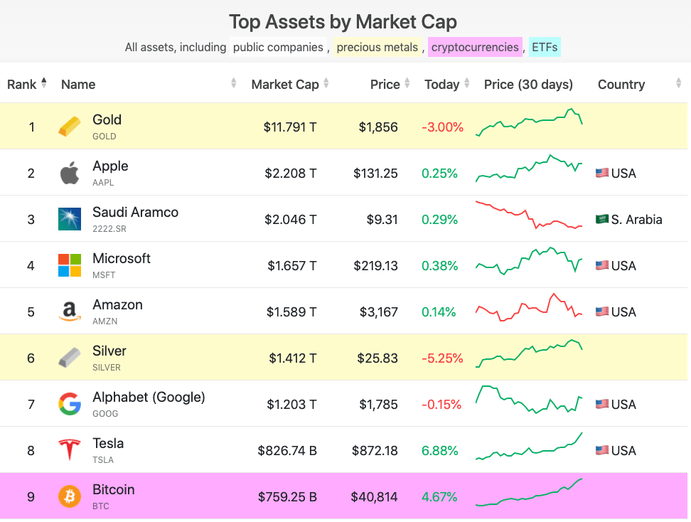 Screengrab showing the world's top assets ranked by market capitalization. (Source: Infinite Market Cap)